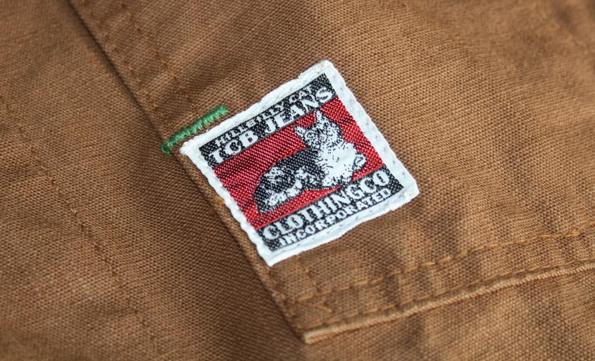 TCB chore coat label