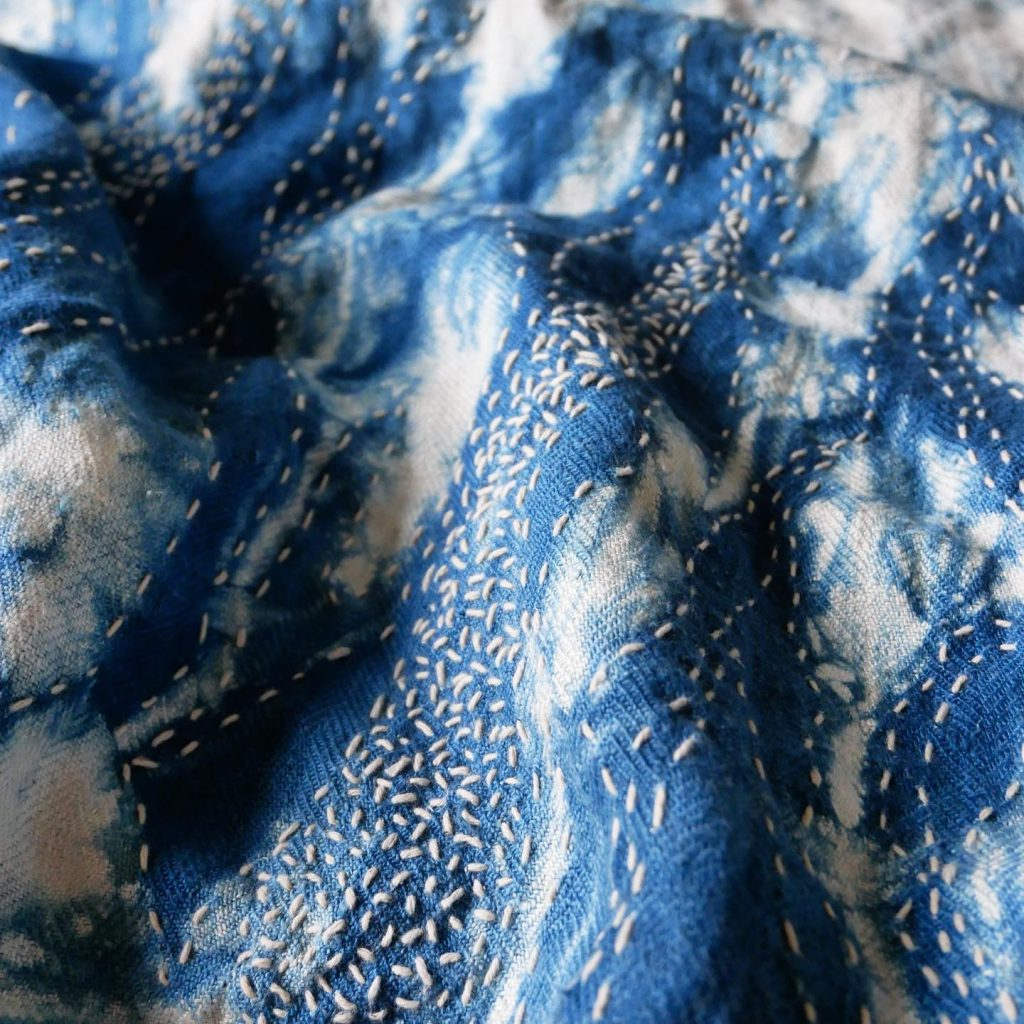 Arashi shibori and sashiko embroidery
