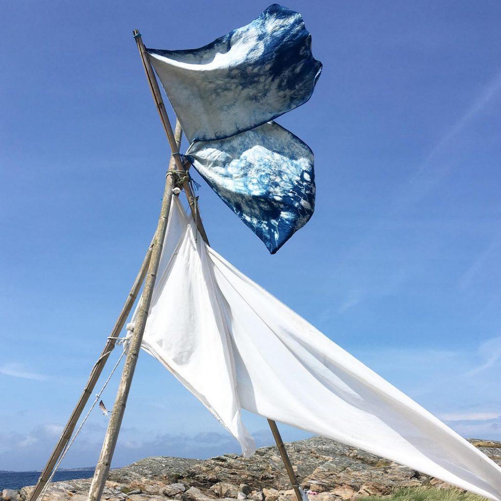 Arashi shibori flags
