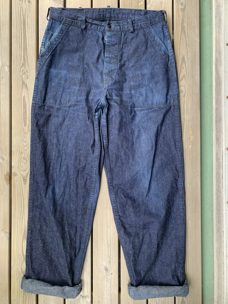 TCB Seamens trousers front 6 months of wear